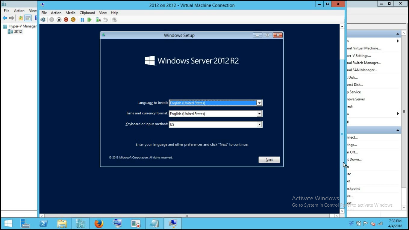2012 Installtion Completed in VM