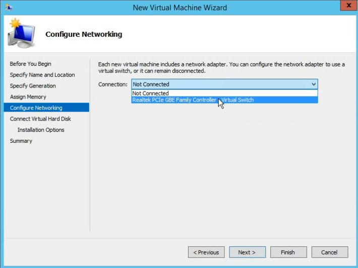 select adapter in vm